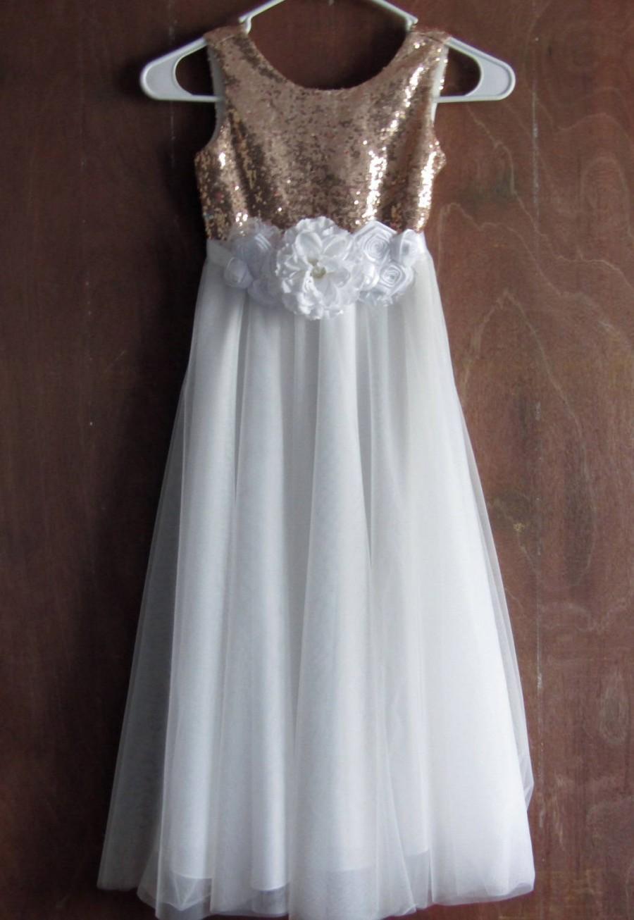 White Flower Girl Dressrose Gold Sequin Flower Girl Dressrustic