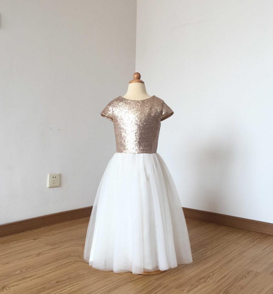 Свадьба - Cap Sleeves Matte Champagne Sequin Ivory Tulle Floor-length Flower Girl Dress 2017