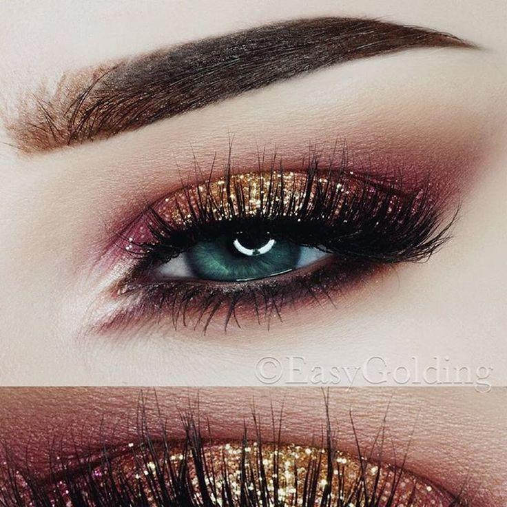 Свадьба - Red And Gold Glitter Look