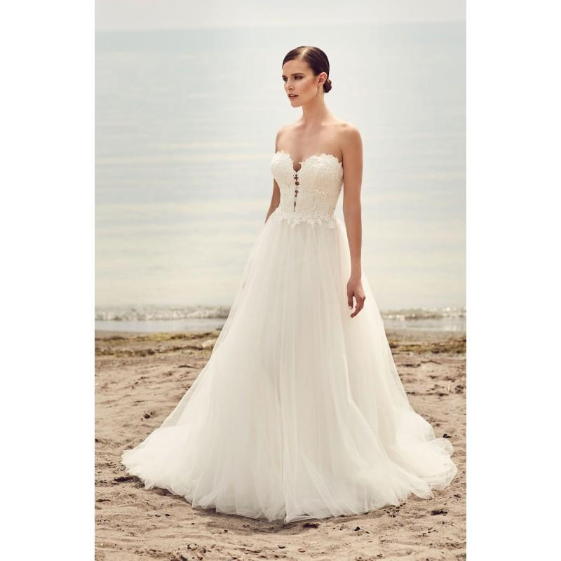 Wedding - Mikaella Spring/Summer 2017 2110 Chapel Train Sweet Ivory Sweetheart Sleeveless Ball Gown Appliques Tulle Outdoor Wedding Dress - Bridesmaid Dress Online Shop