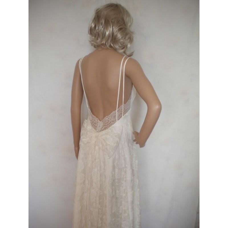 Wedding - bohemian wedding dress beach wedding dress low back wedding dress fairy woodland wedding dress lace wedding dress made to order - Hand-made Beautiful Dresses