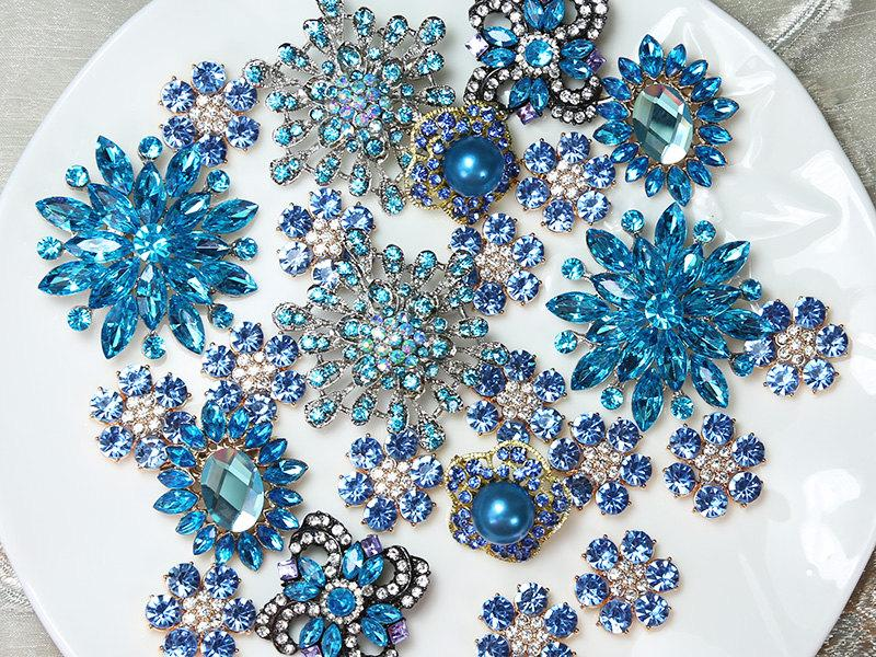 زفاف - Lot 40 BLUE TONE Crystal Button Rhinestone Brooch Wedding Accessories Bouquet Supplies Wedding Invitation Decor Wholesale Brooches Pins DIY