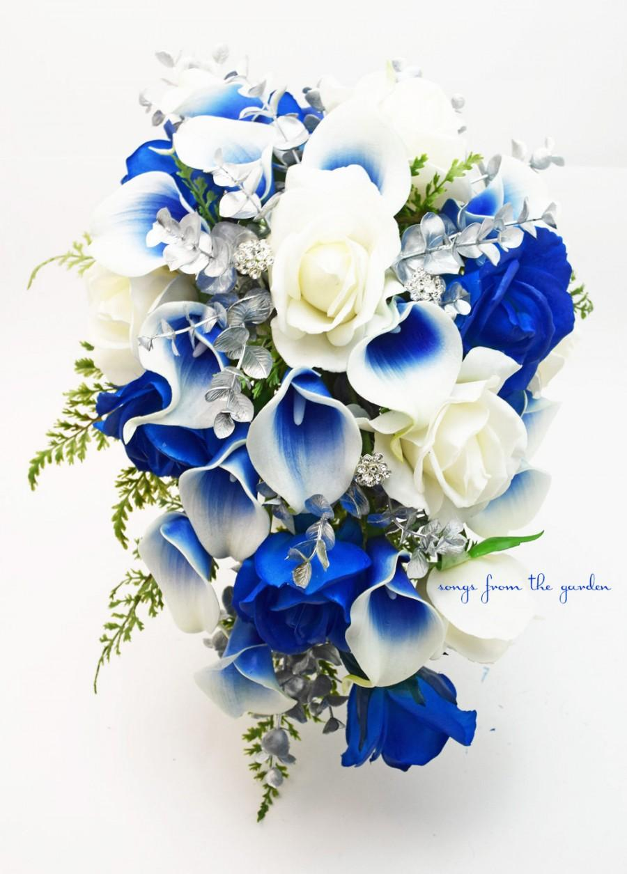 Cascade Bridal Bouquet Silver Blue White Picasso Callas Real Touch