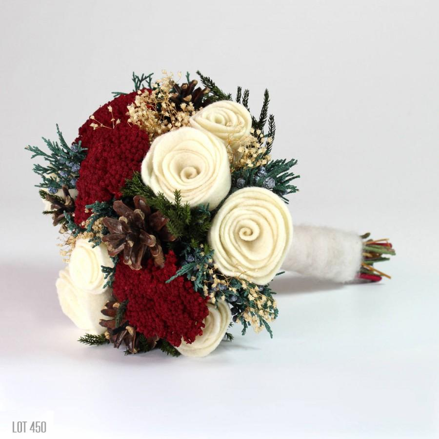Christmas Wedding Bouquet Winter Bride Felt Rose Bridal Alternative Woodland