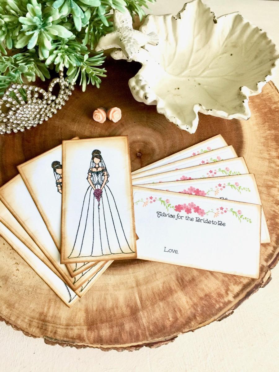 زفاف - Rustic Romantic Bridal Shower Advice Cards/ Bridal Shower Game Cards (Set of 10)