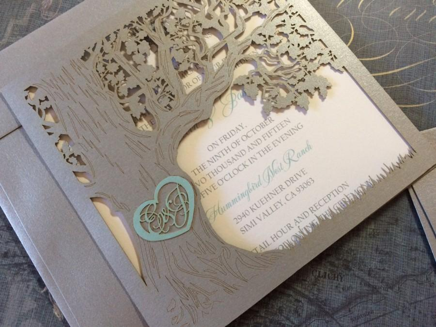Wedding - Custom Laser Cut Wedding Invitation, Love Story Tree