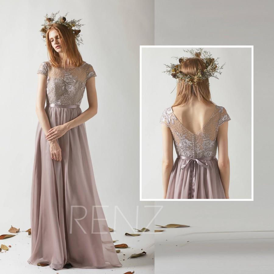 Bridesmaid Dress Rose Gray Chiffon Long Wedding Cap Sleeves Maxi Illusion V Back Prom Boat Neck Evening T208
