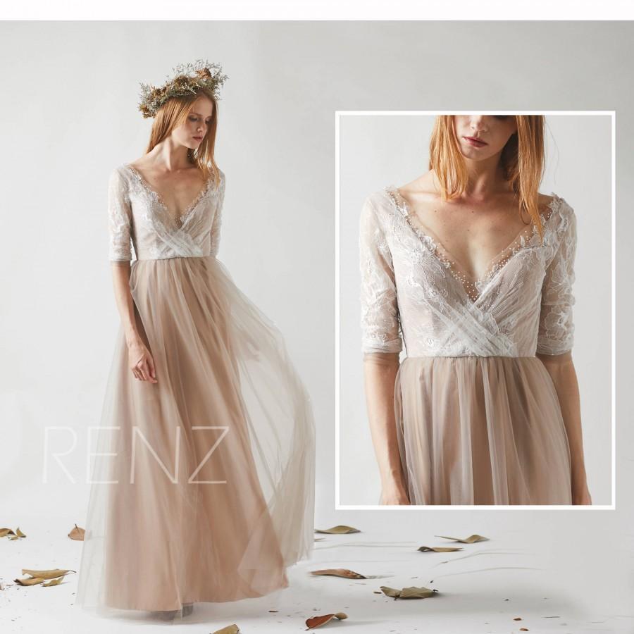 Mariage - Bridesmaid Dress Pale Khaki Tulle Wedding Dress,Off White Lace 3/4 Sleeves Maxi Dress,Beaded Illusion Deep V Neck Long Evening Dress(HS529)