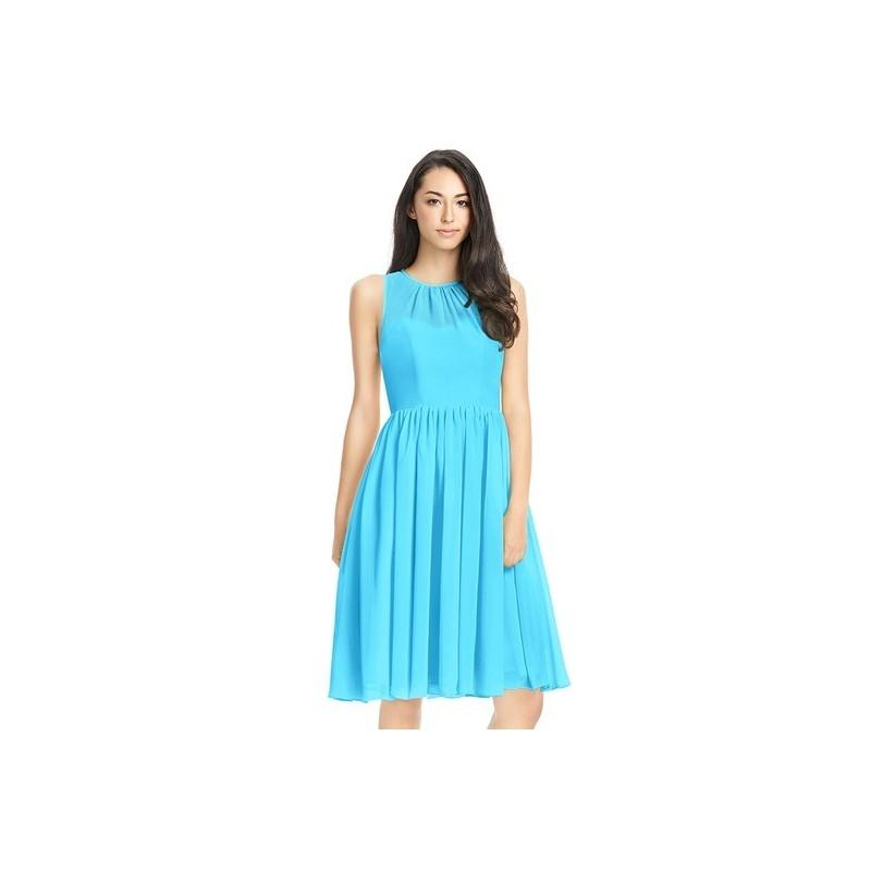 Wedding - Pool Azazie Mckinley - Scoop Knee Length Illusion Chiffon Dress - Cheap Gorgeous Bridesmaids Store