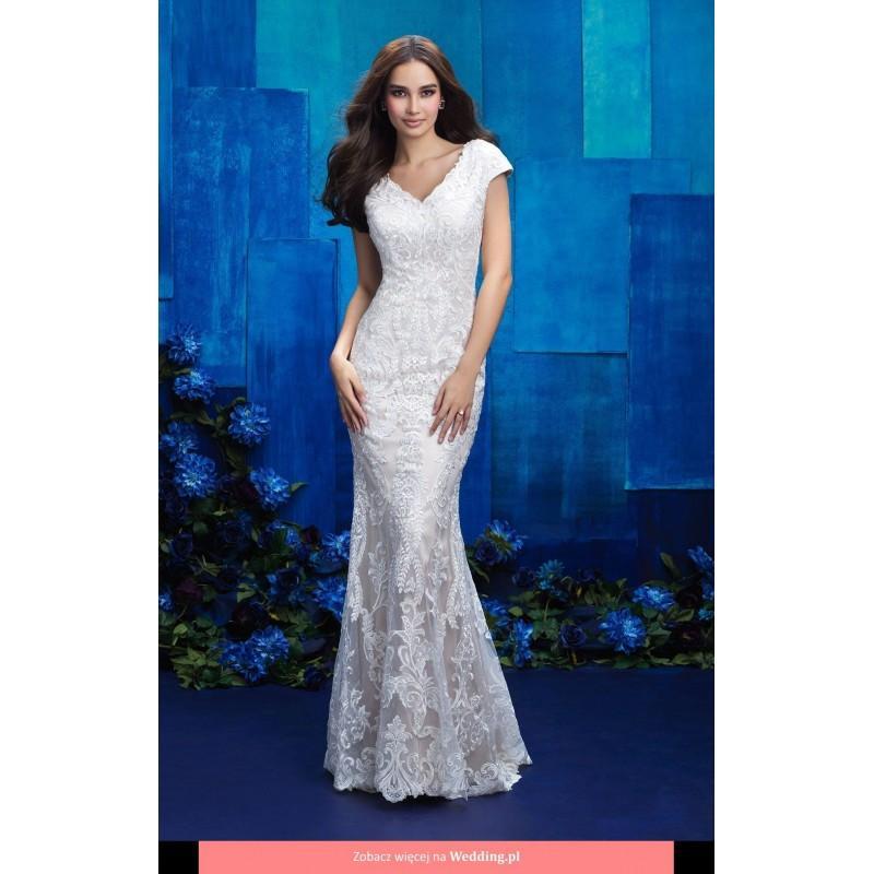 Allure Modest Wedding Gowns: M570 Modest 2017 Floor Length V-neck