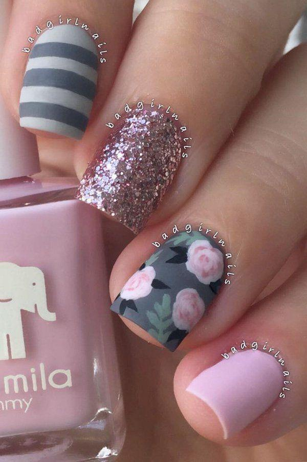 Nail Pink And Gray Nail Art 2796503 Weddbook