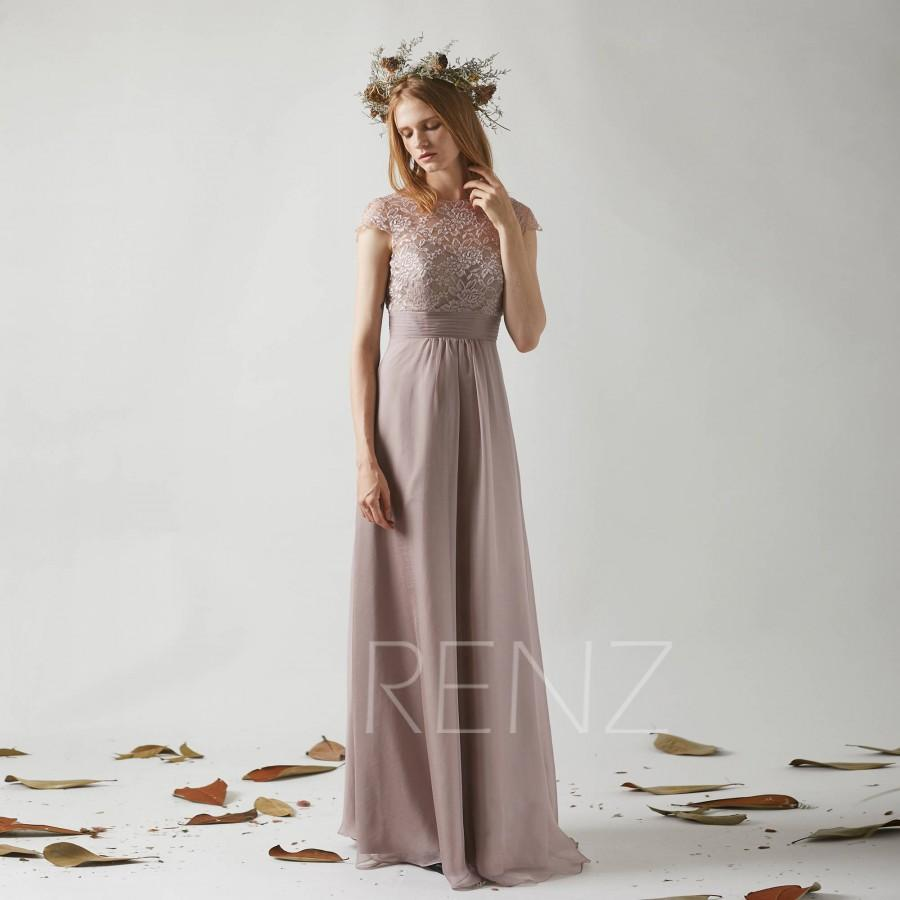 Mariage - Bridesmaid Dress Rose Gray Chiffon Wedding Dress,Cap Sleeves Jewel Neck Maxi Dress,Illusion Lace Back Prom Dress A Line Evening Dress(T191)