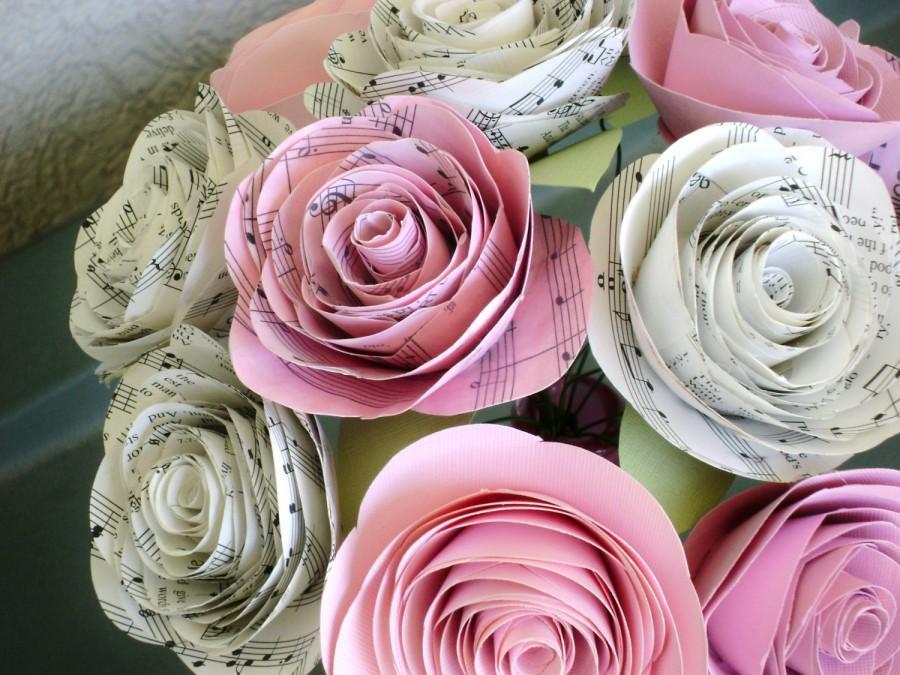 One dozen hymnal sheet music and pink cardstock cabbage rose spiral one dozen hymnal sheet music and pink cardstock cabbage rose spiral paper flower bouquet alternative bride bridesmaid ready to ship mightylinksfo