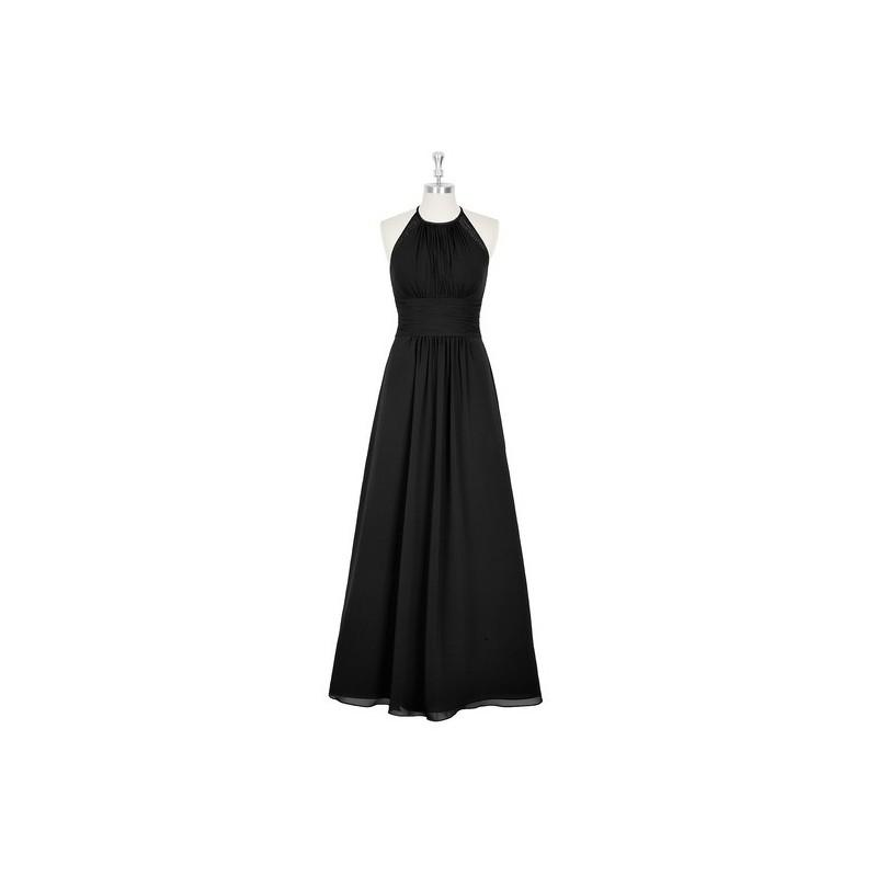 Wedding - Black Azazie Regina - Chiffon And Lace Strap Detail Halter Floor Length Dress - Cheap Gorgeous Bridesmaids Store