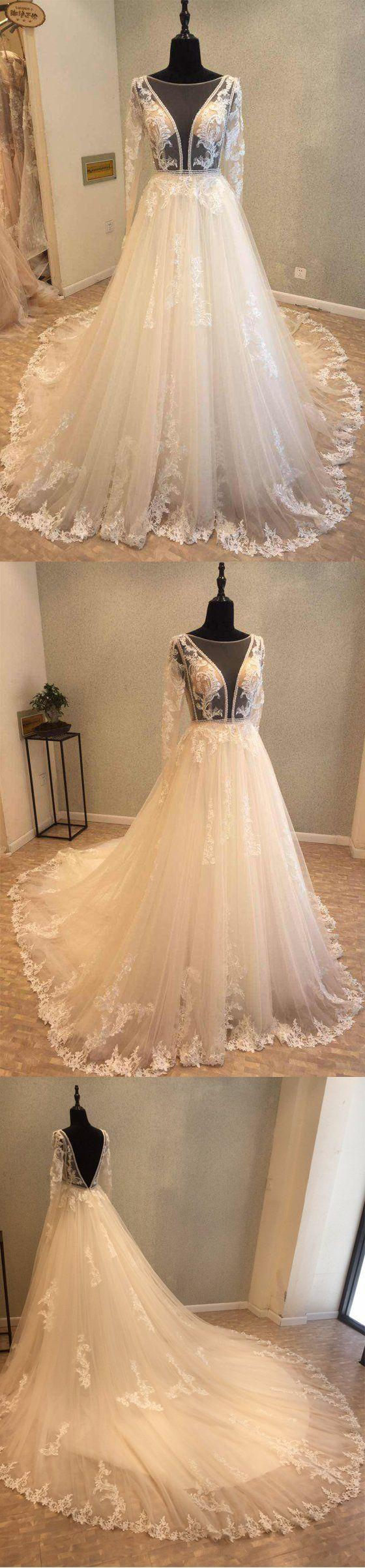 Mariage - Beautiful Long Sleeves V Back Tulle Applique Affordable Long Wedding Dress, WG1204