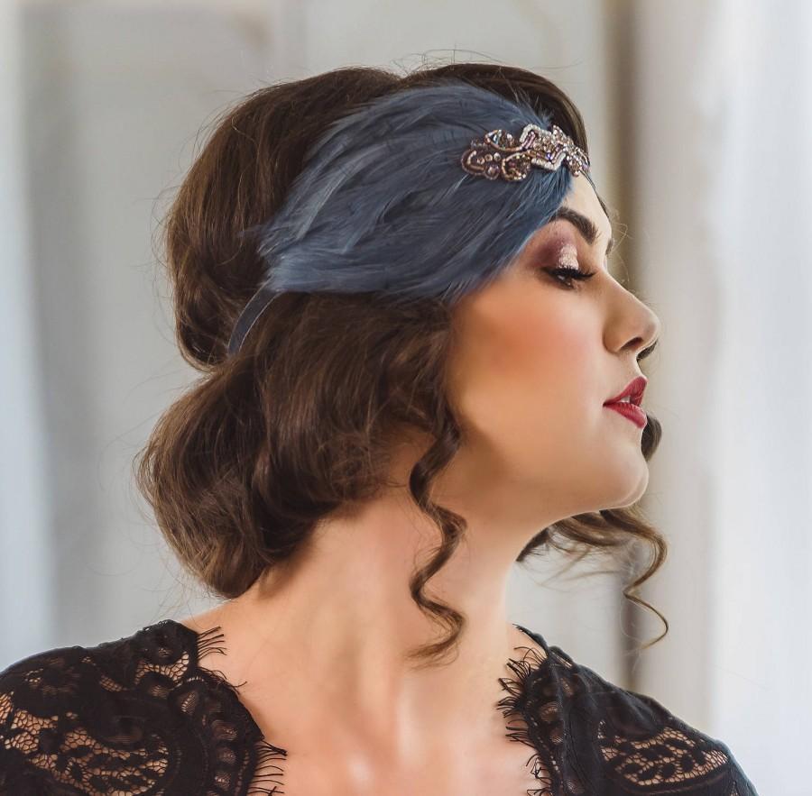 زفاف - GREAT GATSBY Headpiece slate gray feather 1920s flapper fascinator Art Deco beaded  Gray OR Beige Feather 1920s headband for 1920s dress