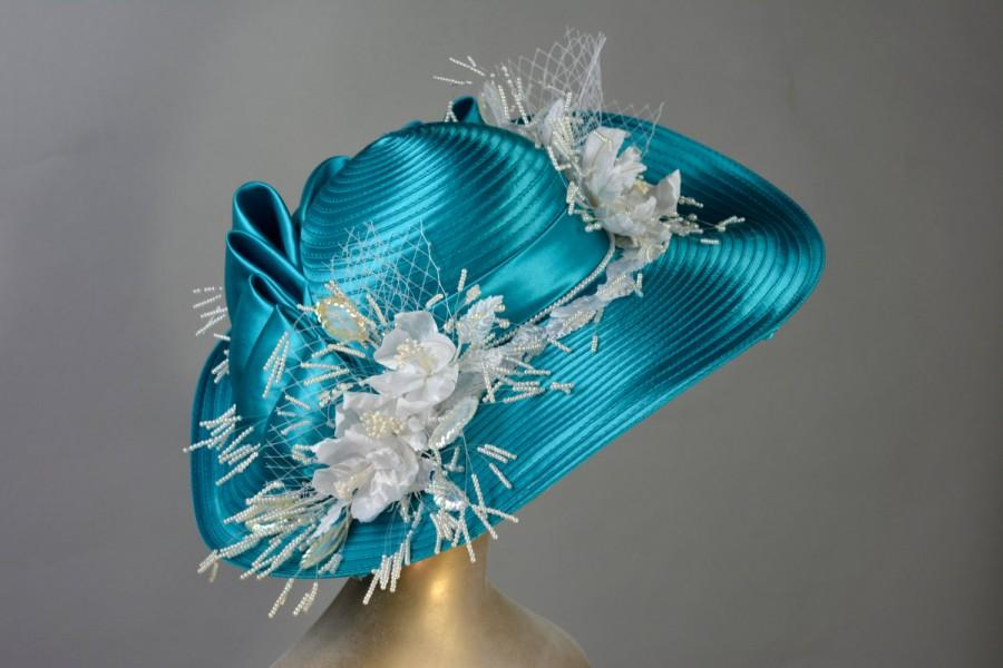 Mariage - Turquoise Wedding Hat Kentucky Derby Hat Bridal Satin Hat Tea Party Hat Royal Hat Wedding Accessory Summer Hat Cocktail Hat