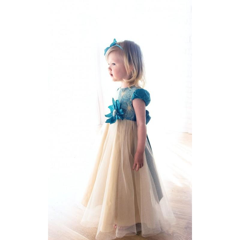 Nozze - baby flower dress-gold baby dress-flower girl dress-Handmade in Europe-baby wedding dress-turquoise baby dress-size 18m - 5Y - Hand-made Beautiful Dresses