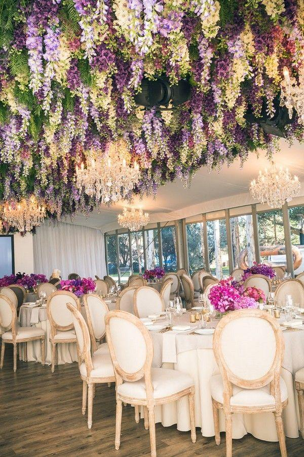 Trending 12 Fairytale Wedding Flower Ceiling Ideas For Your Big Day