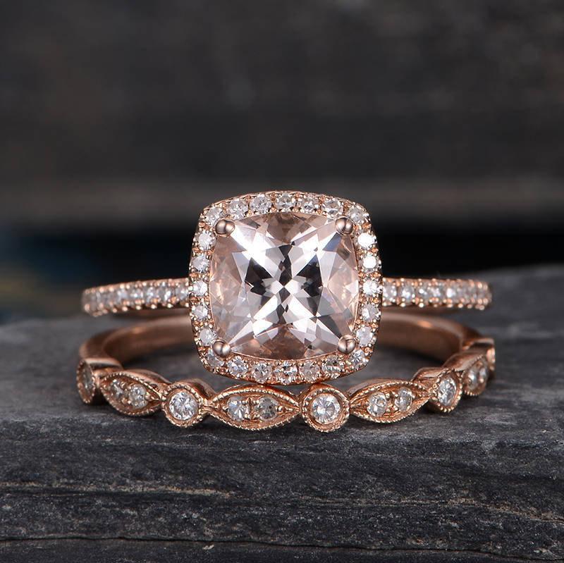 Свадьба - Morganite Engagement Ring Rose Gold Floral Cushion Cut Ring Wedding  Bridal Diamond Half Eternity Art Deco Anniversary Halo  Promise