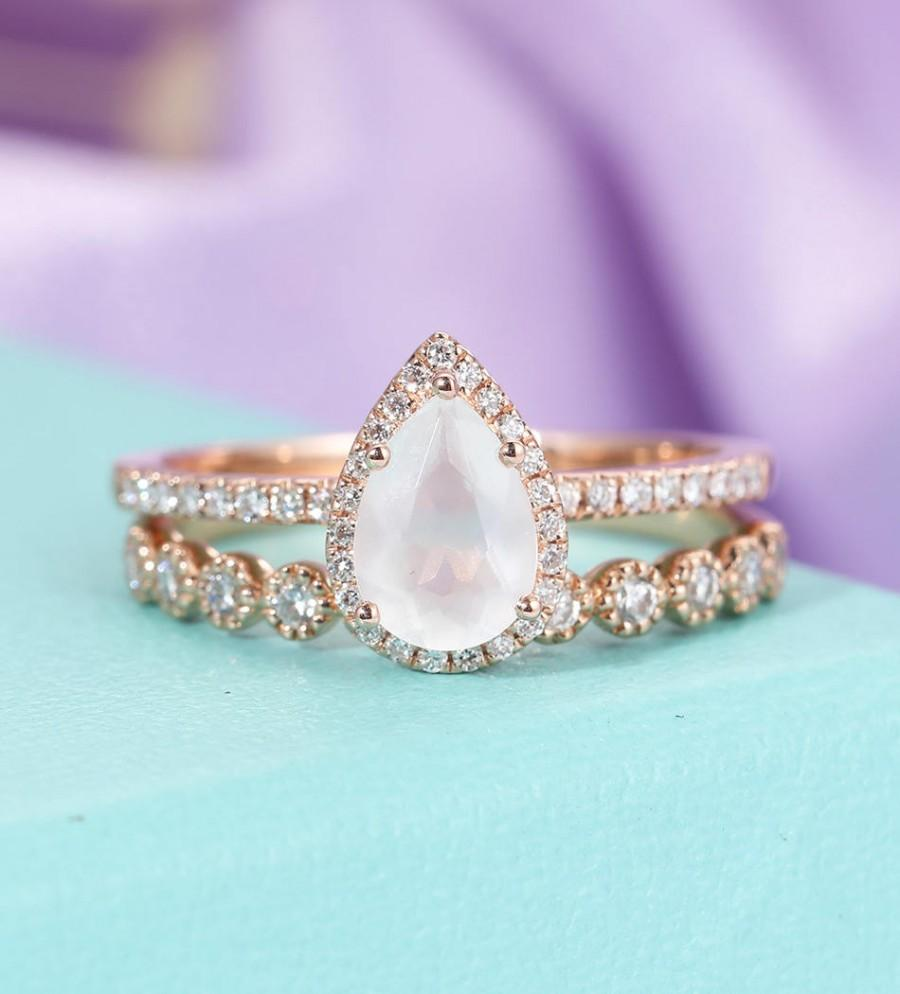 Rose Gold Moonstone Engagement Ring Vintage Delicate Diamond Wedding women  Bridal set jewelry Simple Pear Shaped Cut Stacking Anniversary a9a617ecd6c5