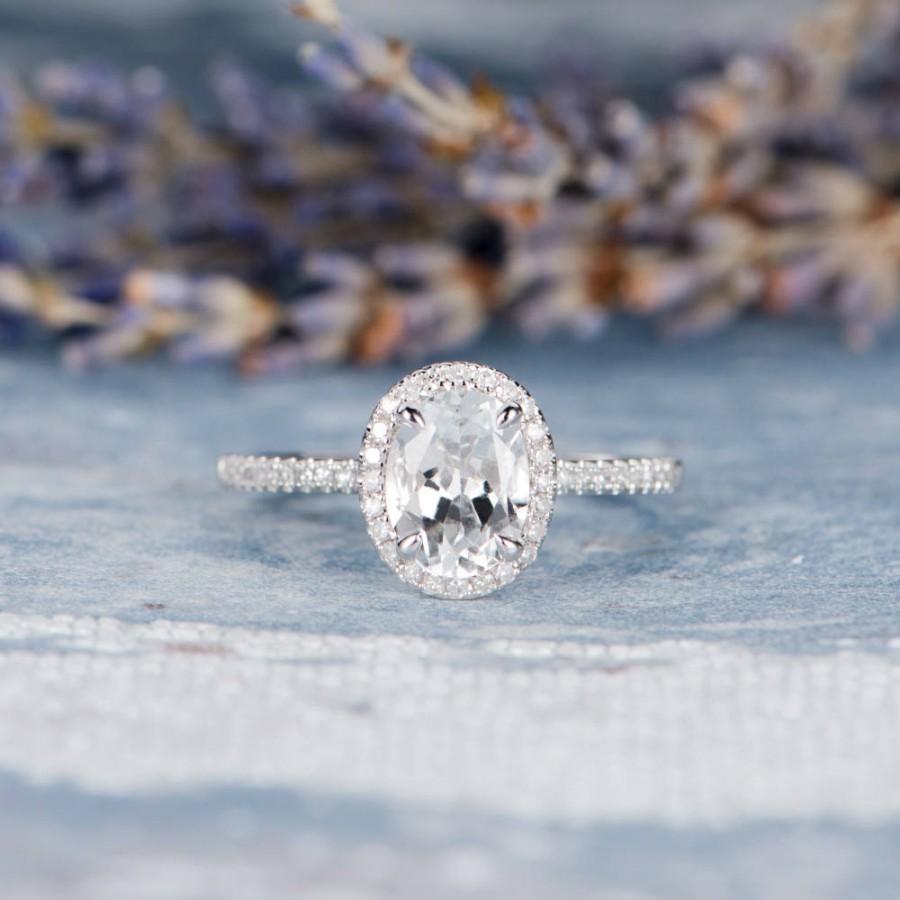زفاف - Oval Cut White Topaz Engagement Ring White Gold Birthstone Wedding Bridal Anniversary Promise Ring Gift for Her Women Halo Diamond Eternity
