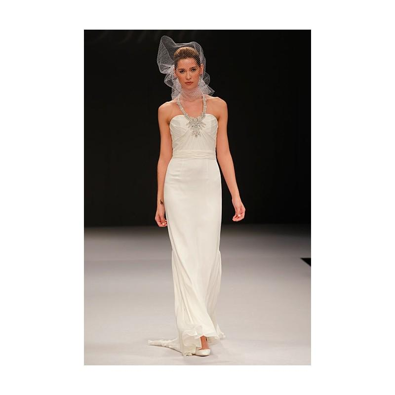 Mariage - Badgley Mischka - Fall 2012 - Chalice Sleeveless Silk Sheath Wedding Dress with Beaded Halter Straps - Stunning Cheap Wedding Dresses