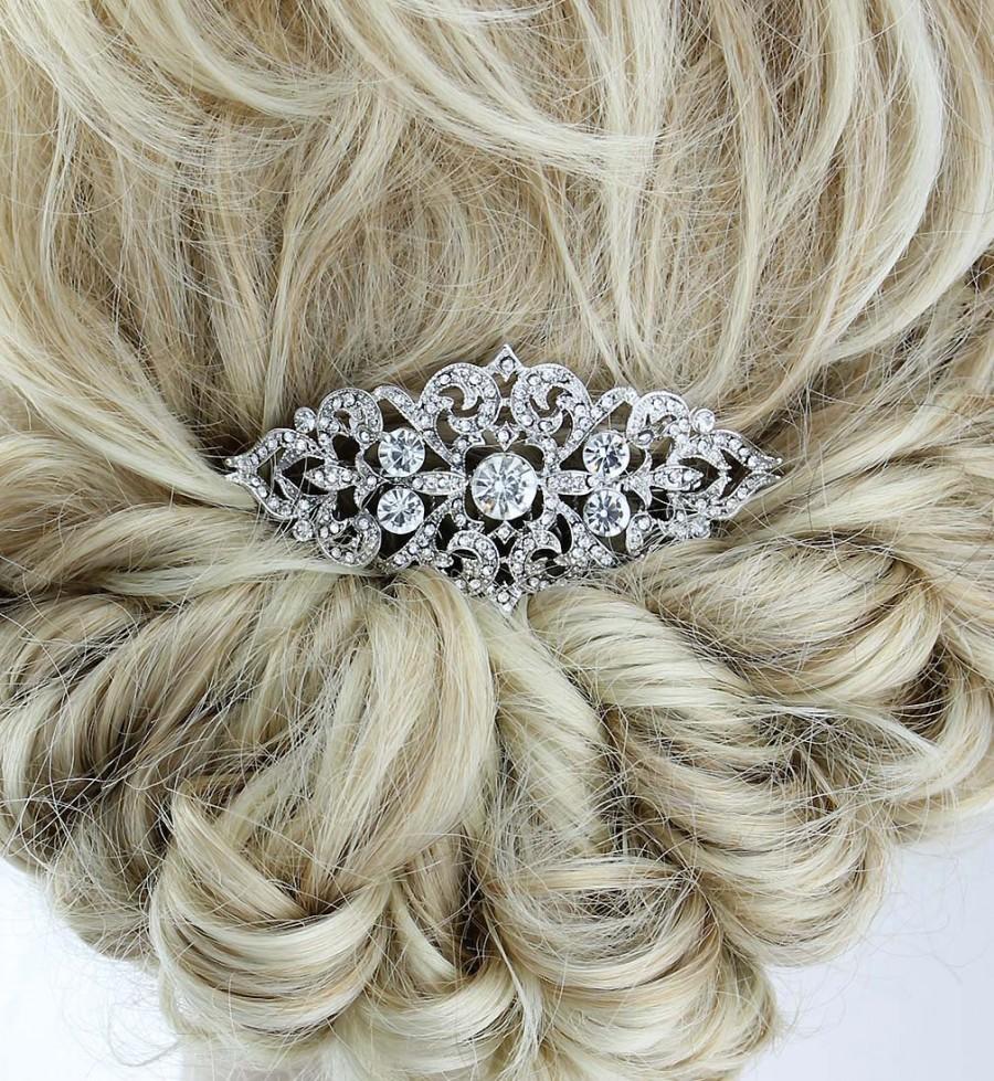 Mariage - Vintage Bridal Comb, Glam Old Hollywood Wedding Headpiece, Rhinestone Silver Hair Combs, Bridesmaid Bridal Hair Clip