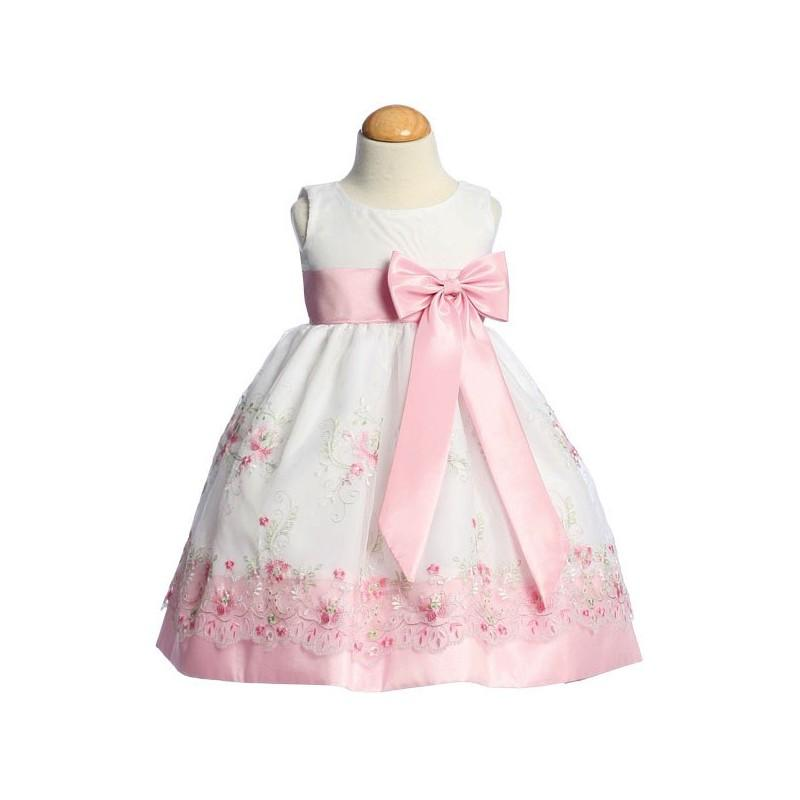 Mariage - Pink Embroidered Organza Dress w/ Taffeta Waistband & Bow Style: LM558 - Charming Wedding Party Dresses