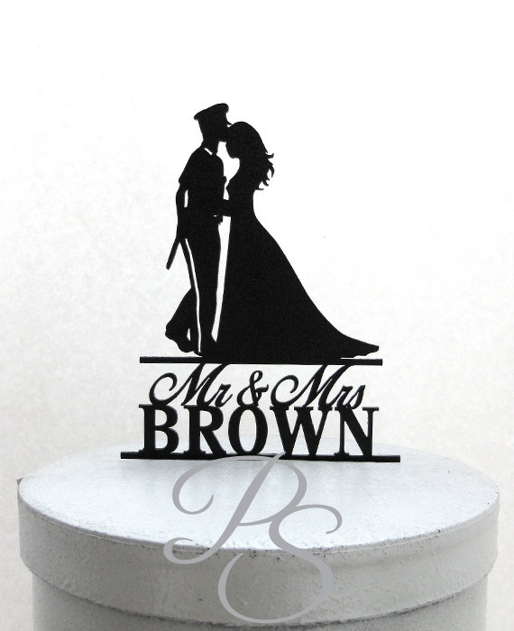 Свадьба - Personalized Wedding Cake Topper - Police Officer and Bride Silhouette with Mr & Mrs name