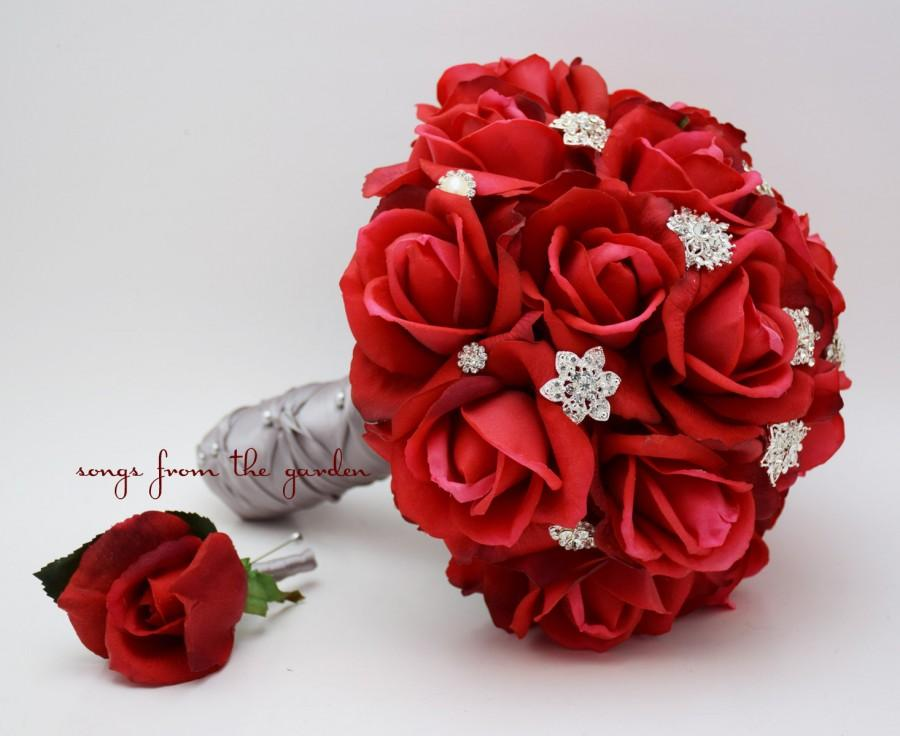 Свадьба - Red Roses & Rhinestones Bridal Bouquet Real Touch Bridal Bouquet Roses Groom's Boutonniere Red Grey Wedding Bouquet Boutonniere