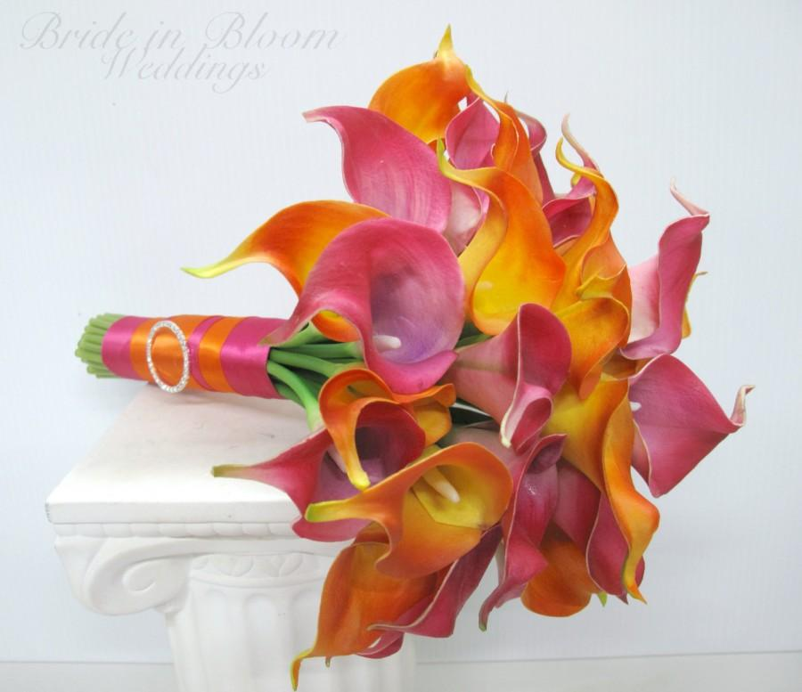 Mariage - Beach bouquet, Hot pink and orange calla lily bouquet, Tropical Wedding bouquet, Destination wedding flowers