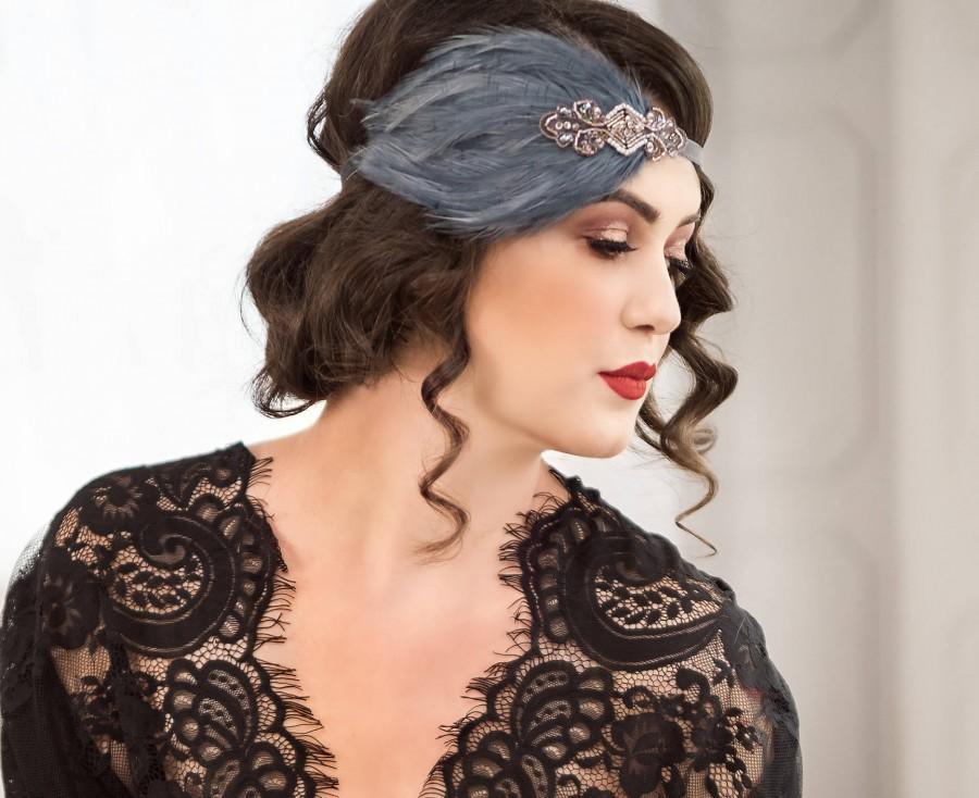 Mariage - Great Gatsby headband, gatsby style dress, Downton Abbey serre tete 1920s headpiece, black feather headband, roaring 20s headpiece,