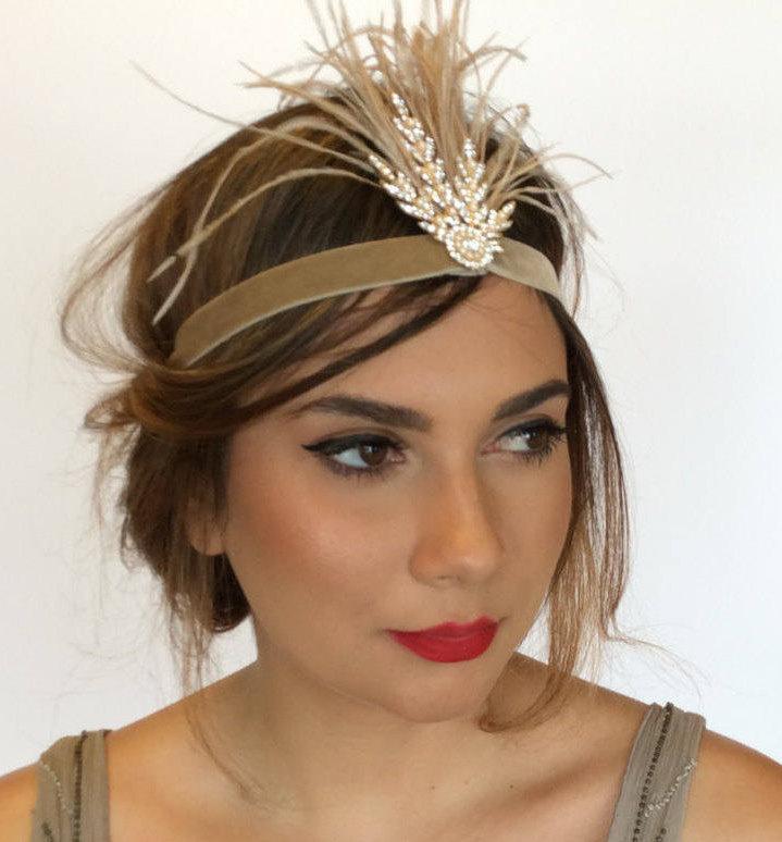 Wedding - Gatsby 1920s headpiece, gold Fascinator. Gold, Flapper headband, gatsby headband, Pearl 1920s headband, feather headband, gatsby headpiece