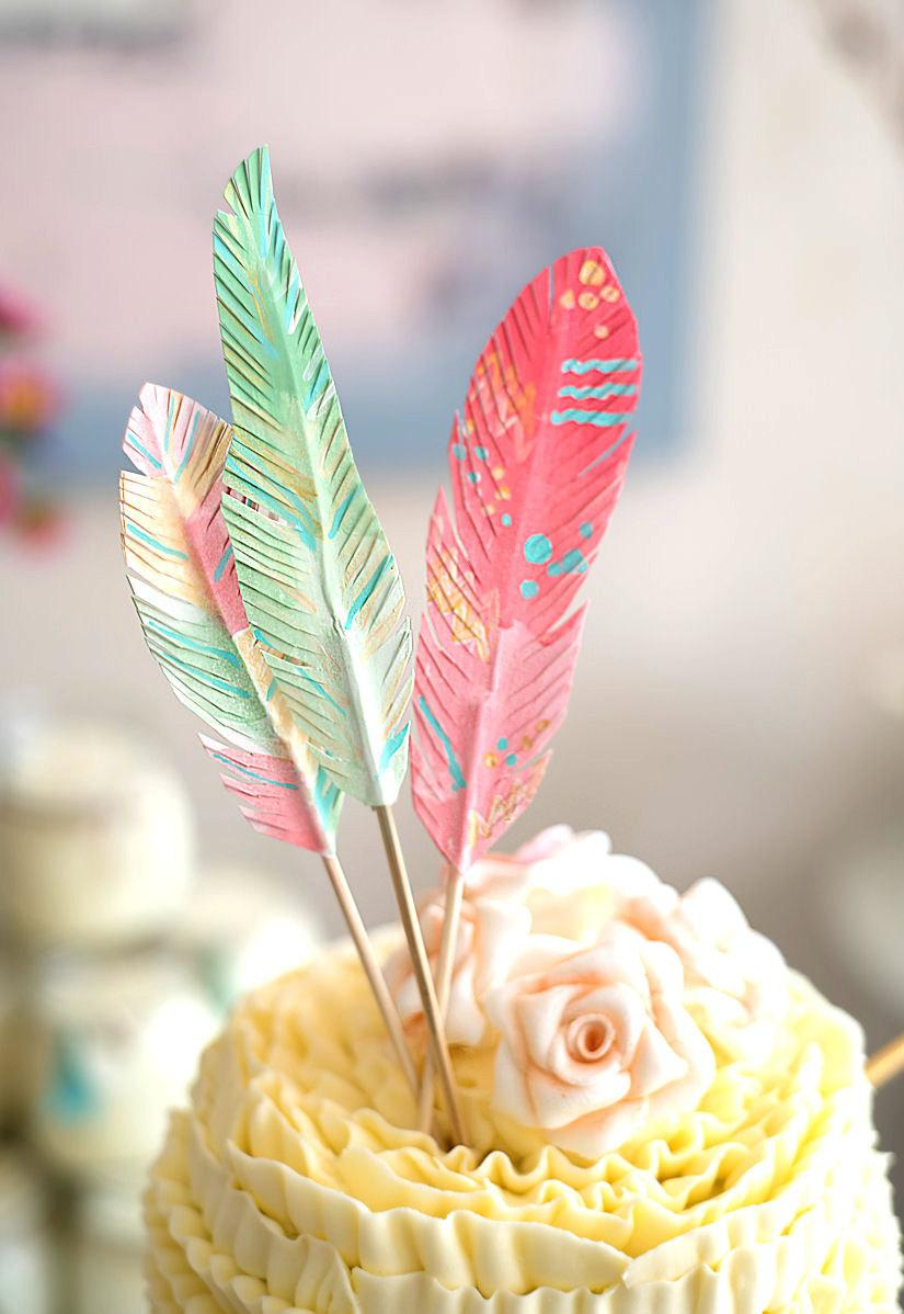 Mariage - Feather Dreams cake topper decoration NO GLITTER