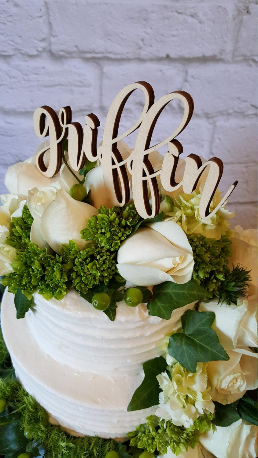 Mariage - Custom Name Cake Topper - UNPAINTED Wooden Monogram Cake Topper - Wedding Cake Topper - Birthday Cake Topper