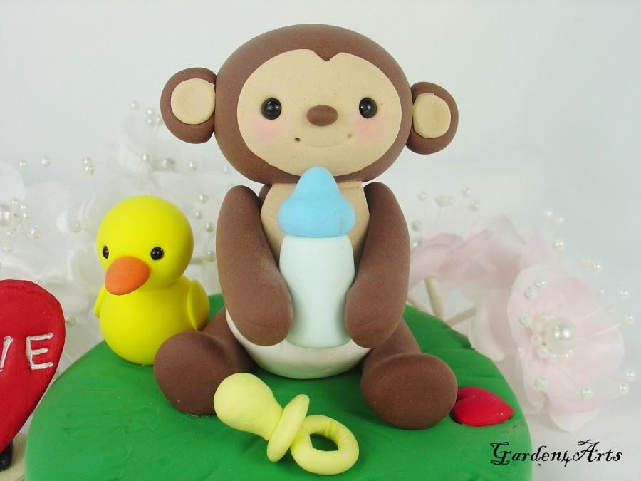 Hochzeit - Customise Lovely Baby Monkey Cake Topper with Grass Base - for Baby Shower or Kids Birthday