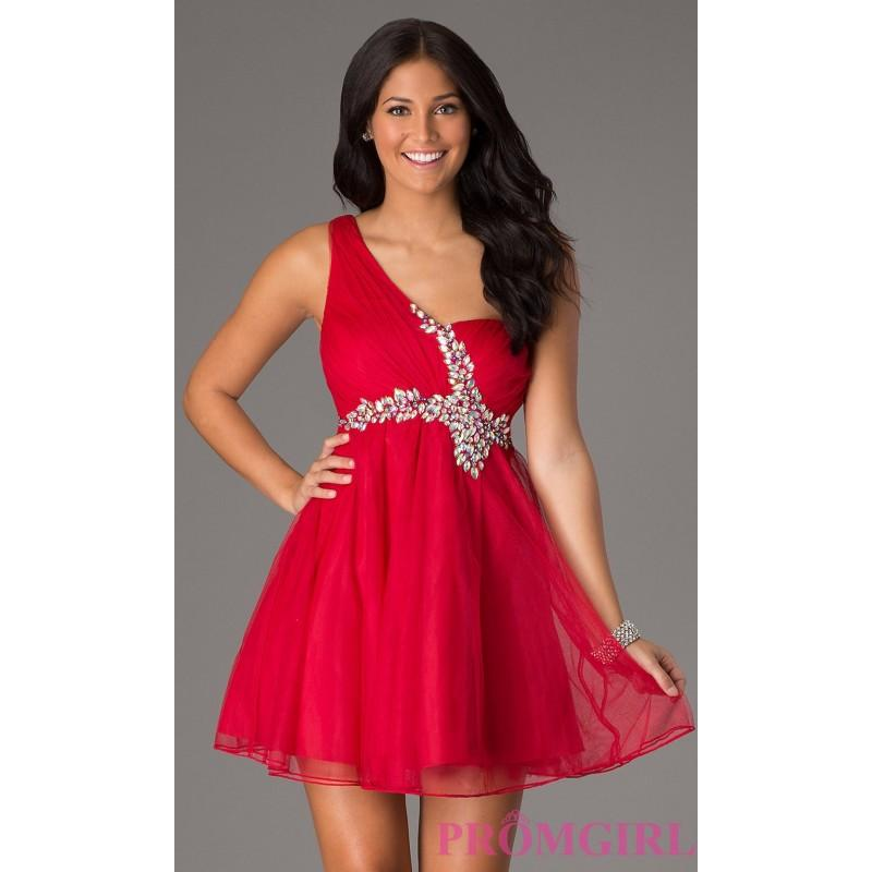 One Shoulder Short Prom Dress By Sequin Hearts Brand Prom Dresses