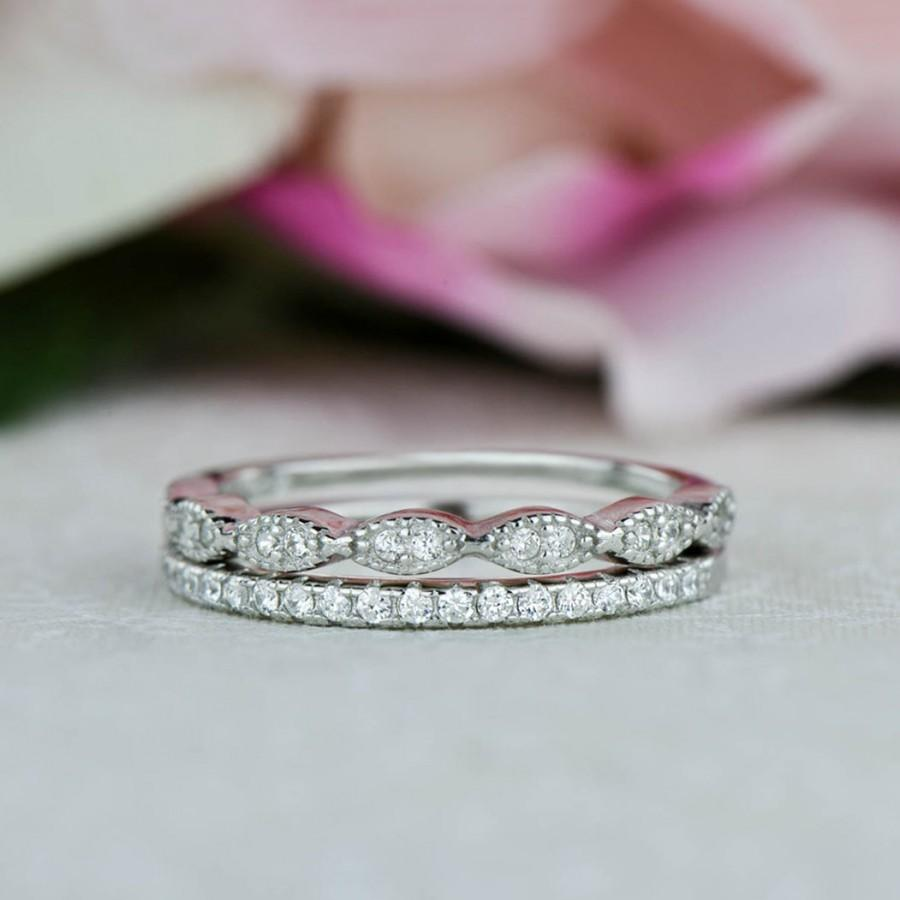 Art Deco Wedding Band And Half Eternity Band Dainty Stacking Rings