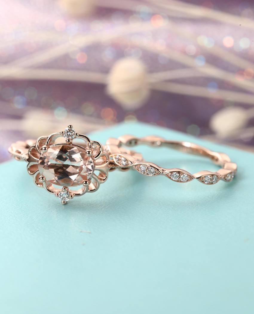 vintage morganite engagement ring set art deco antique
