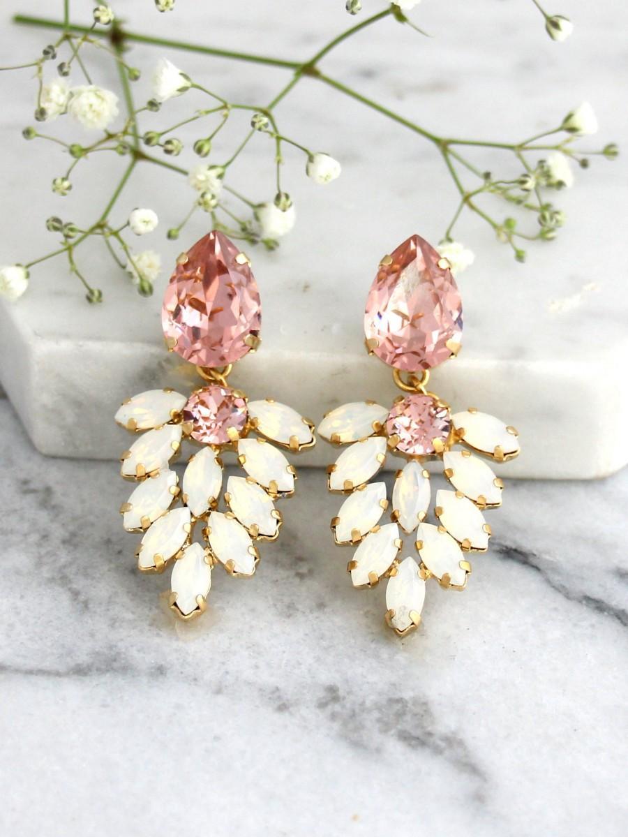 Mariage - Bridal Earrings, Blush Chandelier, Blush White Opal Chandelier, Opal Crystal Swarovski Chandelier Earrings, Morganite Bridal Chandeliers