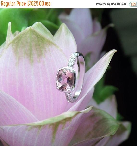 Mariage - HOLIDAY SALE Pink Tourmaline Engagement Ring, Pale Pink Tourmaline OOAK Ring with Diamonds, Ready to Ship
