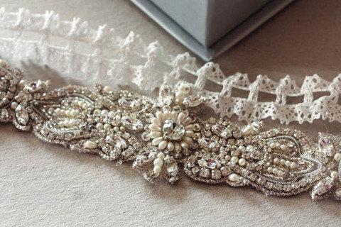 Свадьба - Art deco lace Garter, Lace wedding garter, Bridal Accessories - Art Deco-2  (Made to Order)