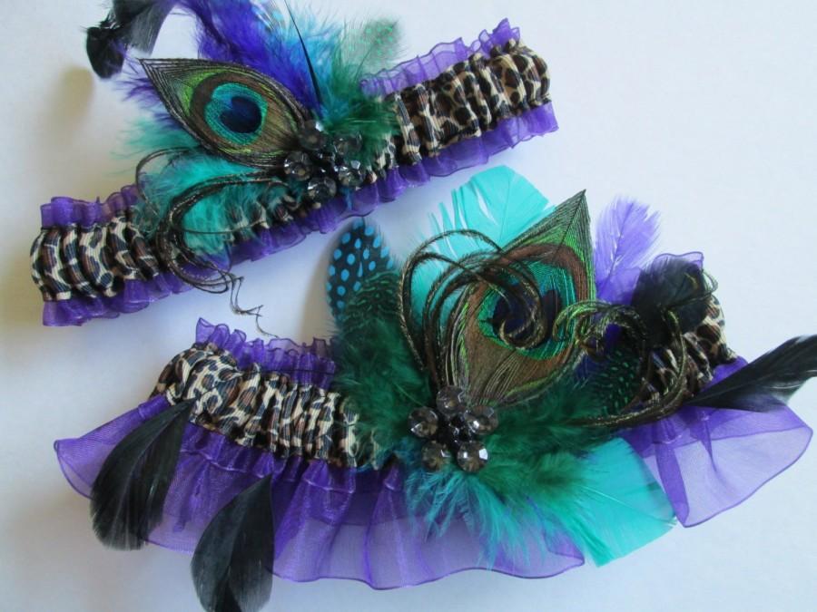 Hochzeit - Peacock Wedding Garters, Purple Bridal Garter, Purple Prom Garters, Prom 2016, Leopard Garter, Mint Green / Teal / Jade Garters