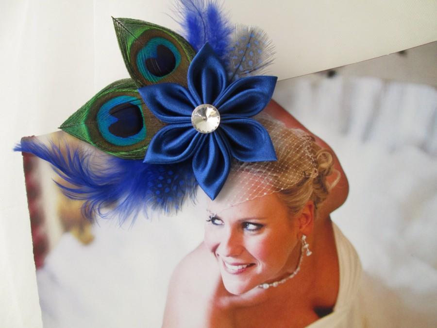 Свадьба - Wedding Hair Clip Fascinator, Royal Blue Peacock Hair Fascinator, Bridal Birdcage French Net, Bride's Hair Accessories, Bridal Accessories