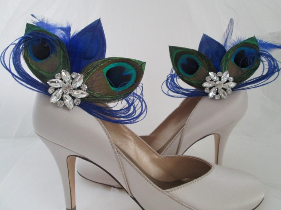 Mariage - PEACOCK Wedding Shoe Clips, Royal Blue Peacock Feather Shoe Clips, Bride Shoe Accessories, Royal Blue Wedding Shoes, Royal Blue Weddings