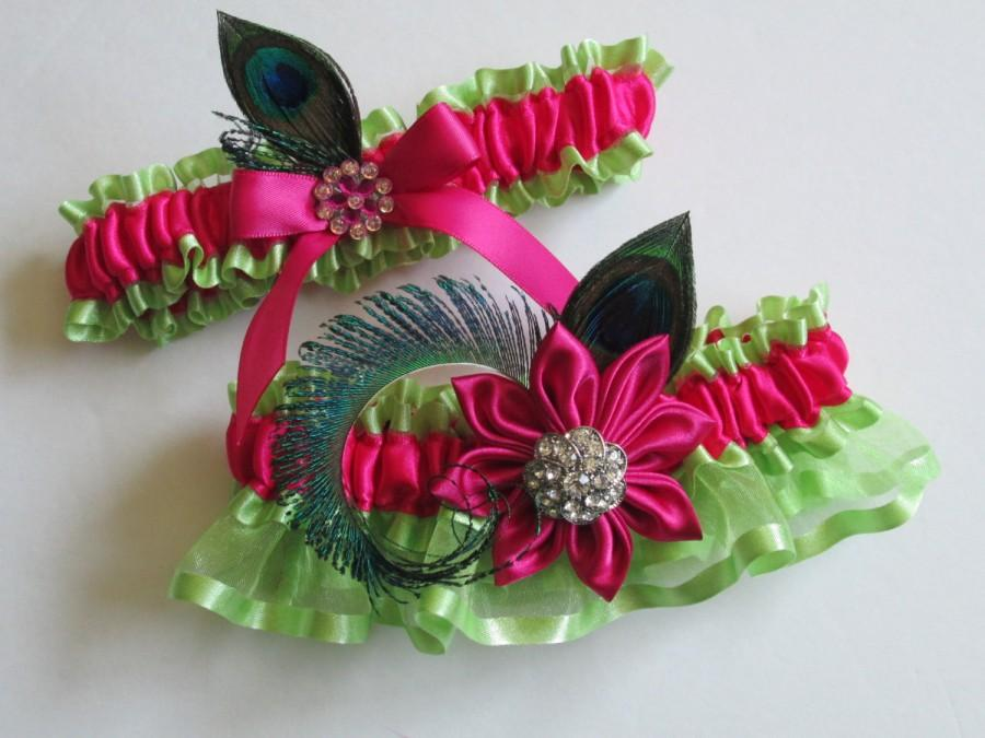 Свадьба - Hot Pink & Lime Wedding Garter Set, Peacock Garters, Magenta Pink and Lime PROM Garters- Beach- Destination Bride
