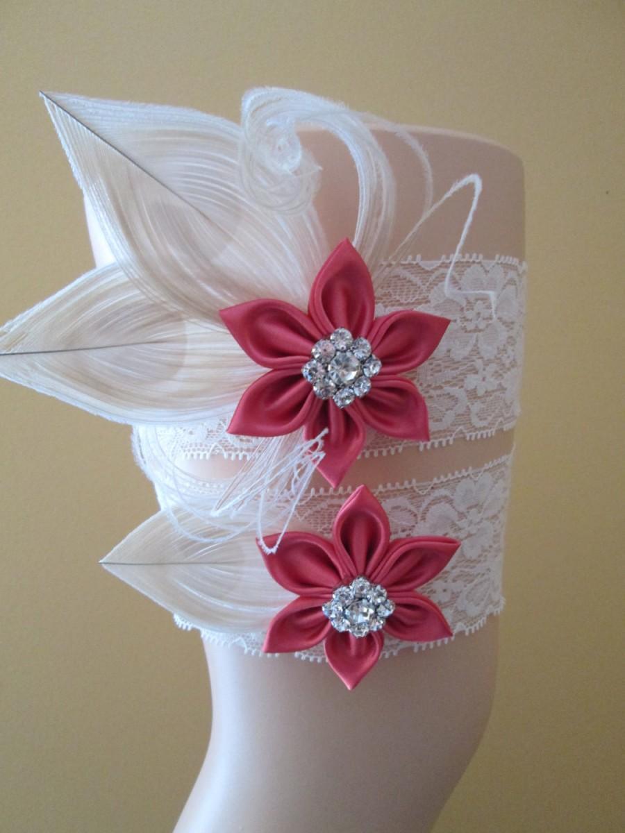 Mariage - Coral WEDDING Garter Set, Rustic Ivory Lace Garters, Champagne Peacock Garter, Coral- Pink Garter, Gatsby Bridal Garter, Country Bride