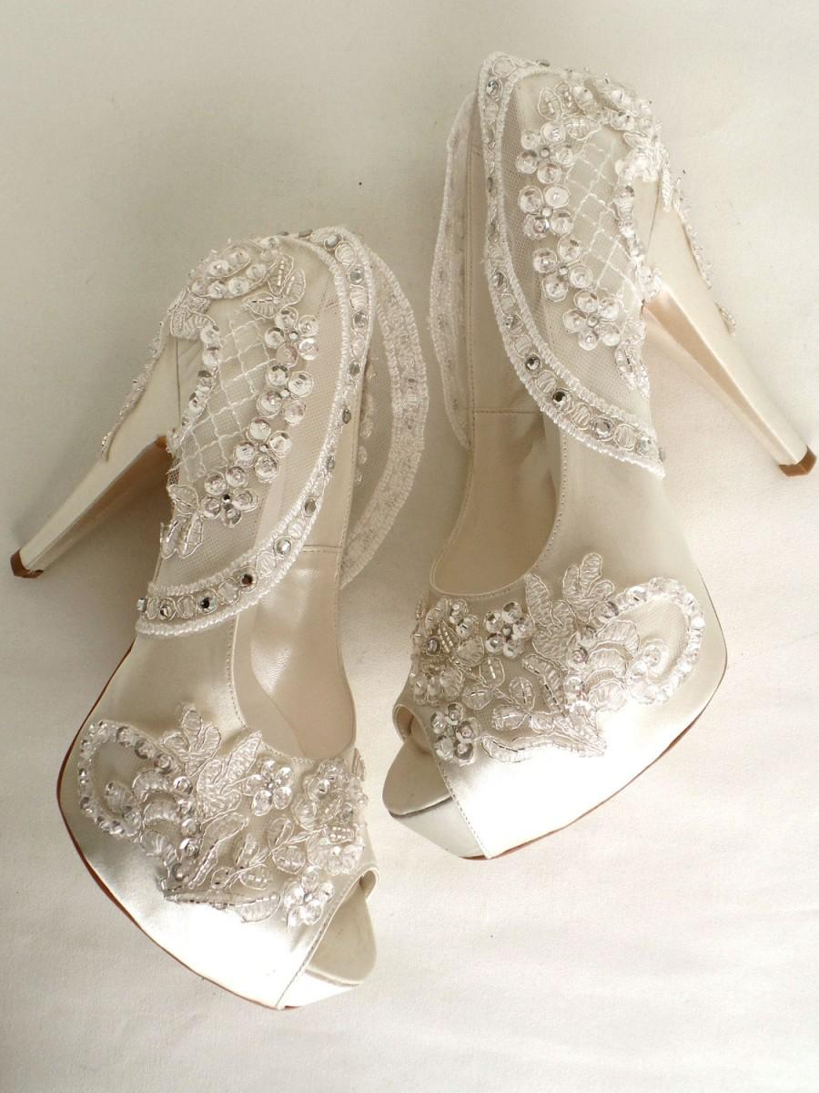 Hochzeit - Wedding Shoes - Sparkly Bridal Shoes - Ivory Satin with Embroidered Lace and Rhinestones