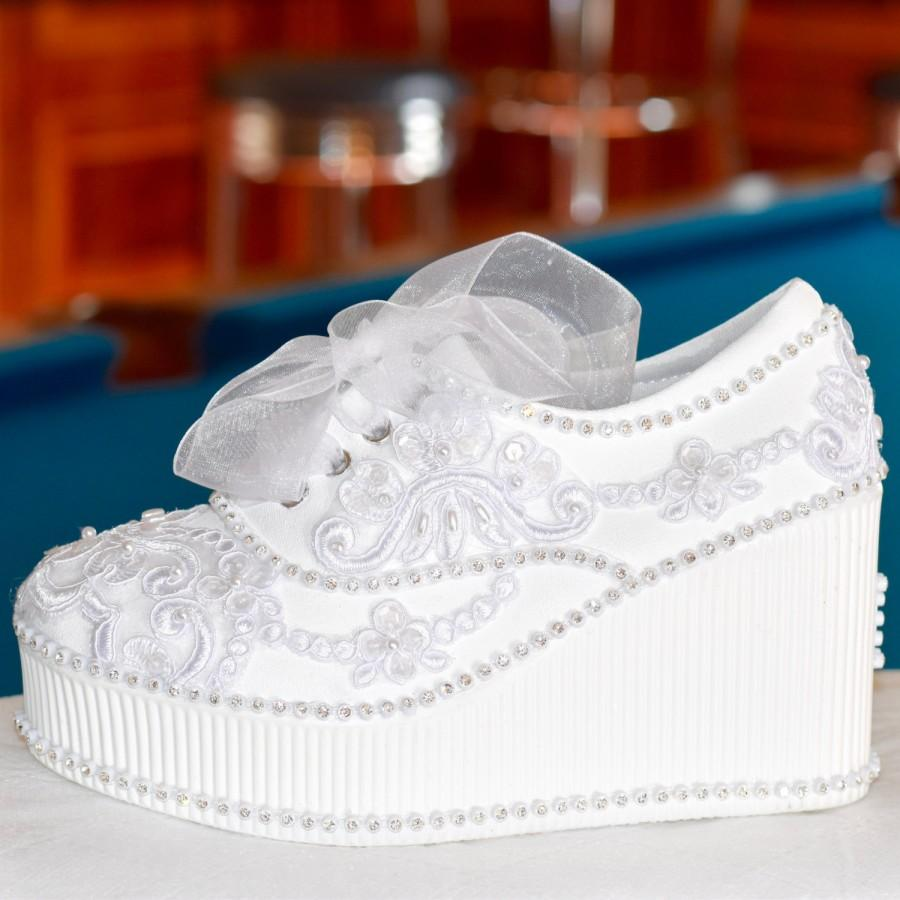 fbc988ae123 Wedding Shoes. White Or Ivory Wedge High Heeled Platform Sneakers ...